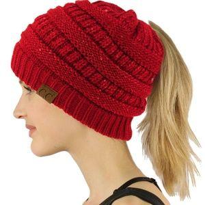 CC Bun BeanieTail Winter Knit Stretchy Beanie Hat